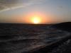 Ondergaande zon op het Wad
